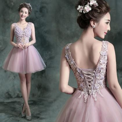 Pink tulle v-neck crystal sexy back..