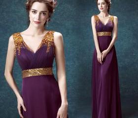 Purple chiffon v-neck gold sequined crystal pleated prom dresses custom new arrival
