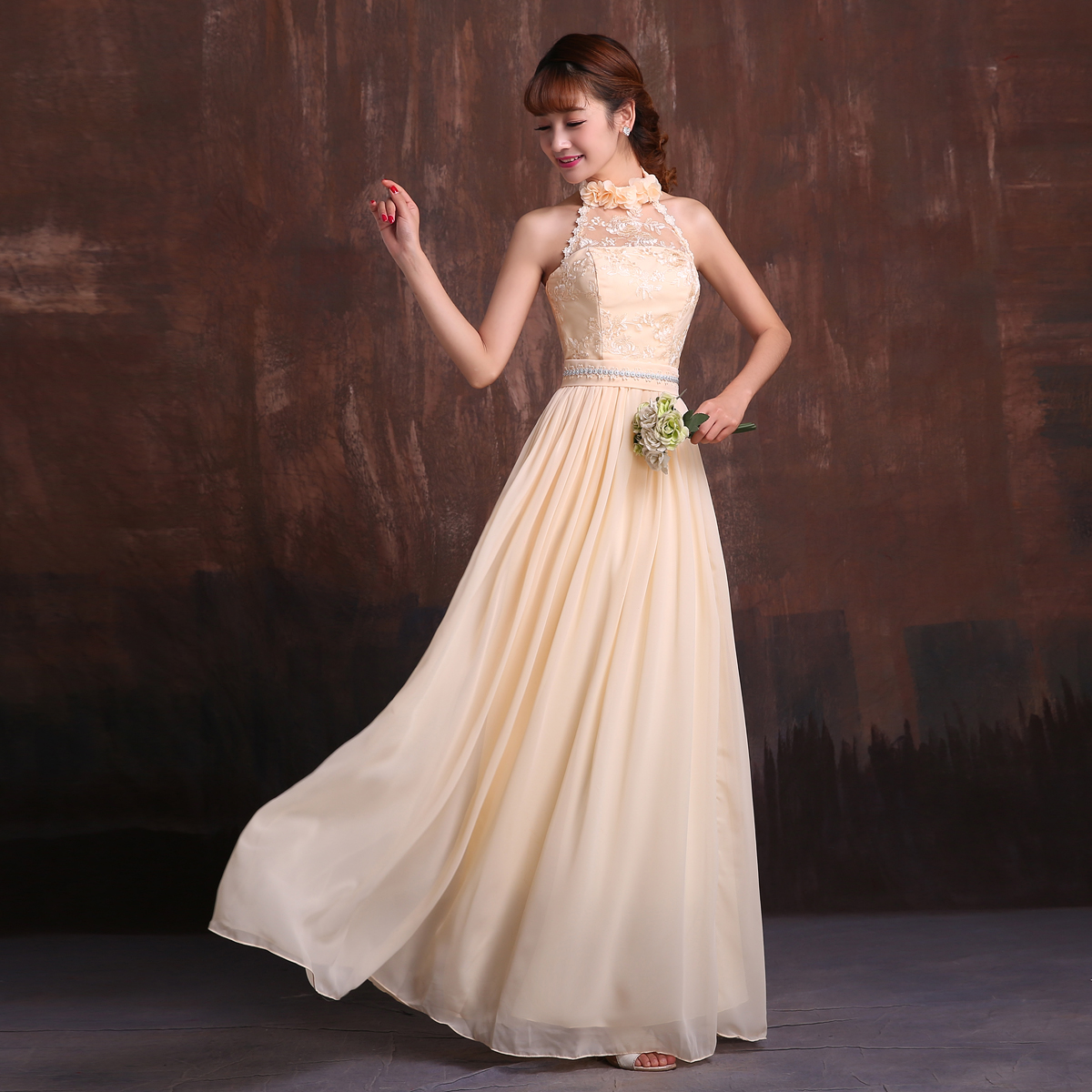 Champagne Chiffon Lace e Shoulder sweetheaert o neck