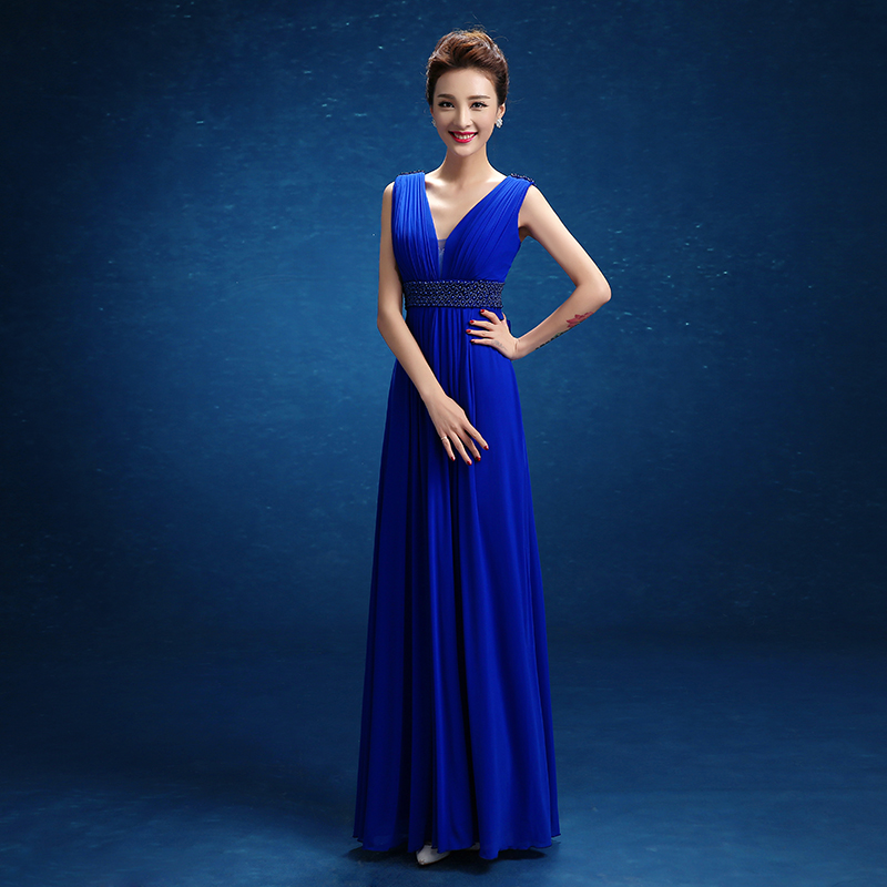 Royal blue chiffon V-neck pleated prom dresses A-line long evening gown party bridesmaid dresses