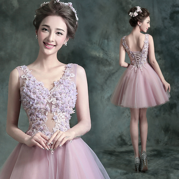 Pink tulle v-neck crystal sexy backless prom dresses short party dress beauty a-line evening gown