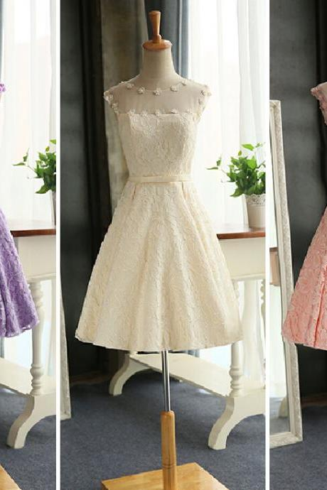 Lace bridesmaid dress flowers short prom dresses a-line lace up party evening gown custom new arrival