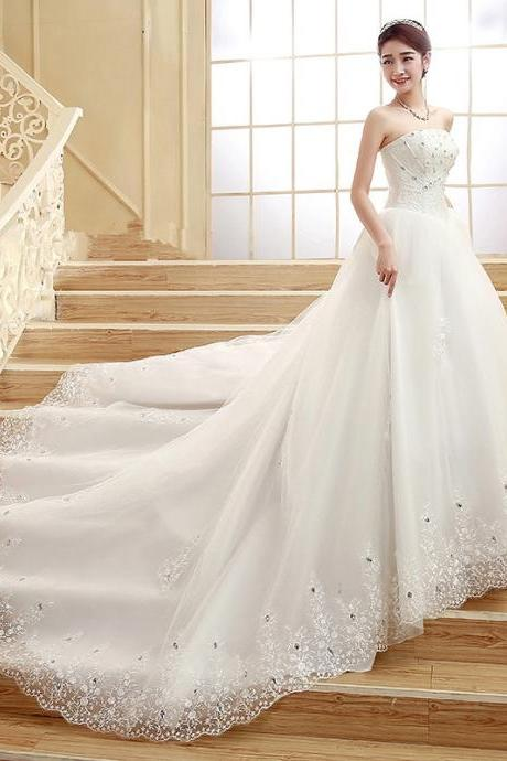 Ivory tulle a-line beaded crystal long train lace applique wedding dresses custom cheap dress