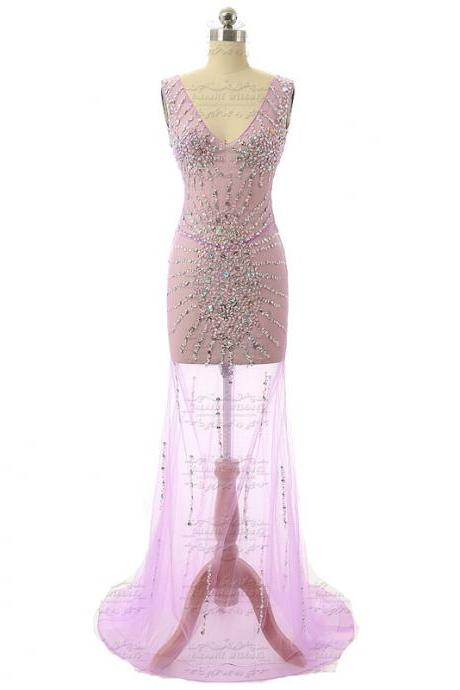 Light purple tulle sheer beaded crystal mermaid prom dresses see through sexy mermaid party dress evening gown