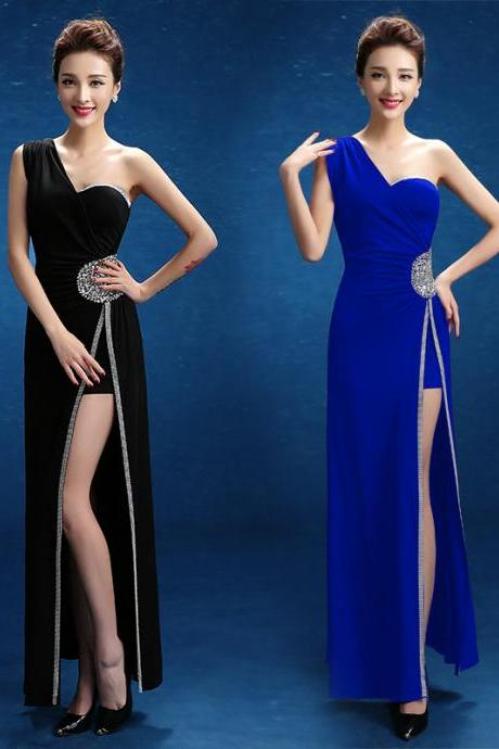 One shoulder crystal open back sexy slit prom dresses lace long mermaid bridesmaid dress custom evening gown