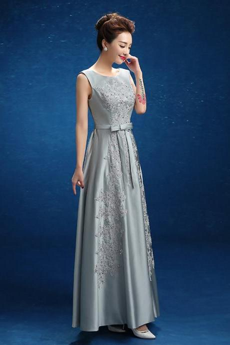 Gray satin lace applique beaded crystal long prom dresses lace up sleeveless party gown