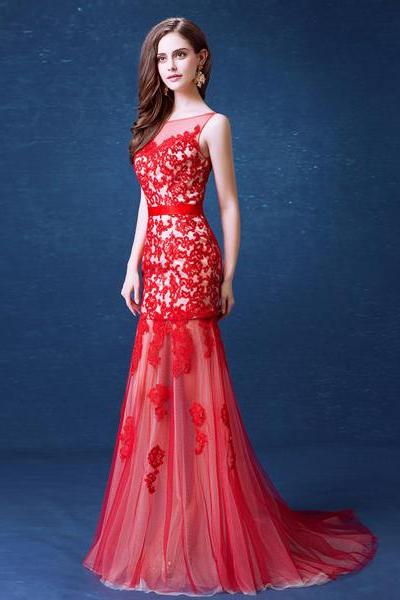 Red tulle lace applique mermaid prom dresses long sexy party gown