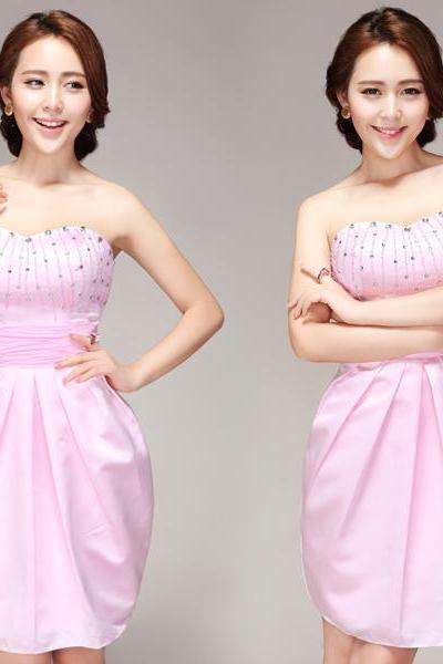 Pink satin sweetheart beaded crystal pattern mermaid prom dresses short party gown