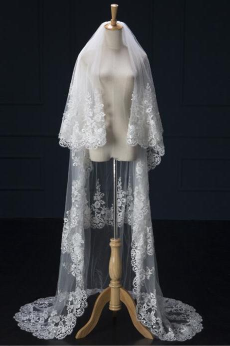 Ivory tulle lace applique three long wedding veil