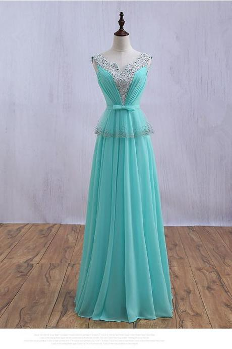 Light green chiffon beaded crystal v-neck lace up evening party gown long prom dresses
