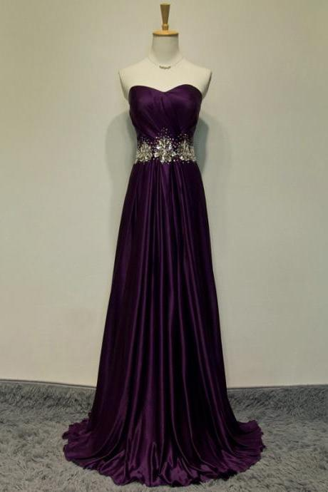 Red wine satin beaded crystal sweetheart long prom dresses sexy evening gown