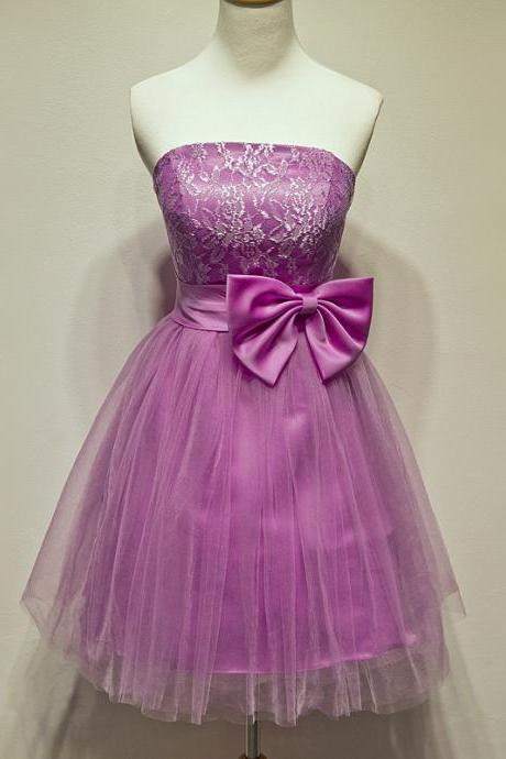 Light purple satin beaded crystal lace bow short prom dresses a-line evening gown