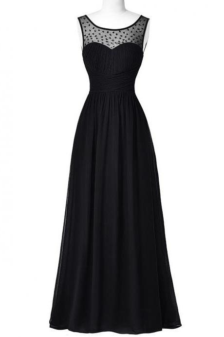 Black Long Chiffon A-Line Evening Dress Featuring Ruched Sweetheart Illusion Bodice with Beaded Embellishments