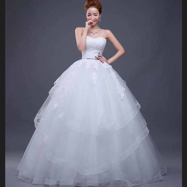 new arrival Tulle lace applique sweetheart ruffles bow long wedding dresses custom