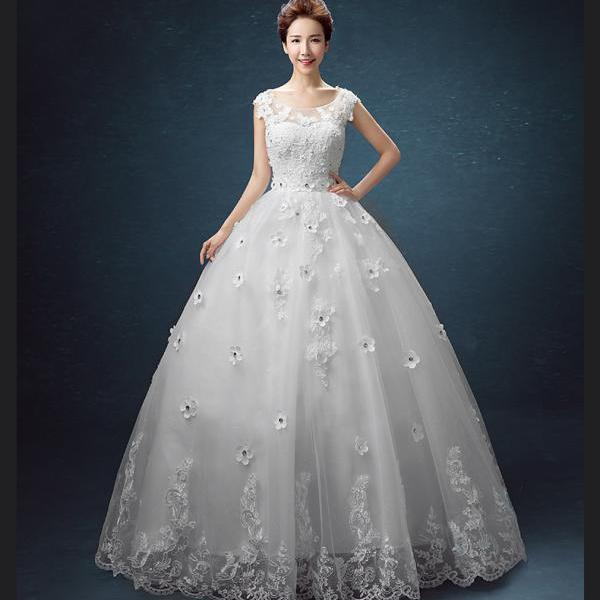 new arrival Bridal dress Ivory tulle lace a-line long beaded crystal sweetheart wedding dress