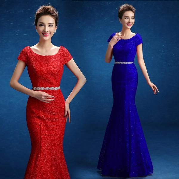 Red lace custom beaded crystal prom dresses mermaid evening gown short sleeve