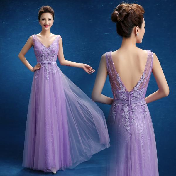 New arrival purple tulle V-neck sequined sexy prom dresses lace applique evening gown