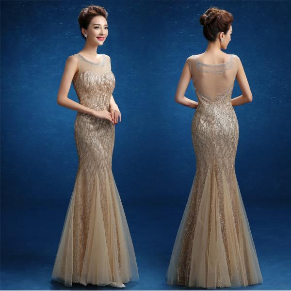 Gold sequined lace tulle beaded crystal mermaid prom dresses long evening gown